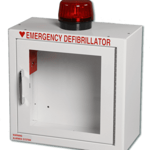 Compact AED Wall Cabinet, Surface Mount + Alarm + Strobe