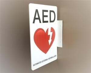 AED Wall Display Sign Flanged