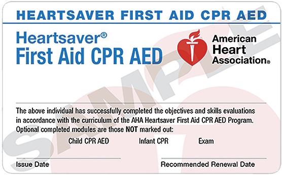 Receive card the SAME day ✓ No prerequisites for this course ✓ Two year certification ✓ Covers adult, child, and infant. CPR, AED use, & choking